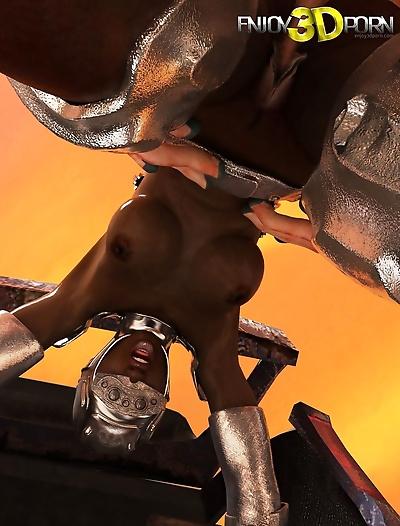 Huge aliens dick cums on black warrior girl - part 10